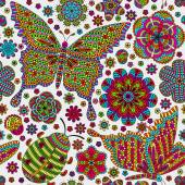 Seamless pattern with flowers and butterflies Romantic floral background Bright colors Detailed vector illustration