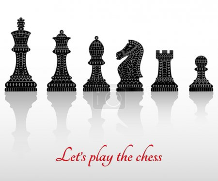 Set of all chess pieces. Beautiful lace ornament in Indian style. Vector illustration.