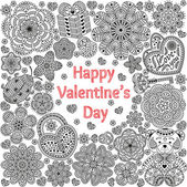 Design of card for Valentines day. Pattern with flowers, hearts, bear, gift and key.  Text Love you and Happy Valentines day.  Beautiful  floral background. Good for weddings, invitations, birthdays