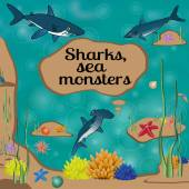 Cartoon poster with sharks and place for your text