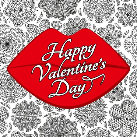 Card design for Valentines day. Pattern with flowers and ladybug. Lips shape.  Floral lettering background. Text Happy Valentines Day. Red, black and white colors.