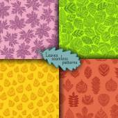 Set of seamless patterns with different tree leaves such as oak and maple chestnut and birch aspen and linden poplar and ginkgo tulip tree and sassafras beech hornbeam holly Autumn collection