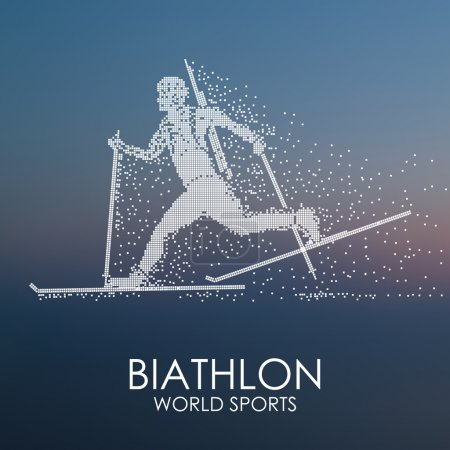 Sportsman running on skis with