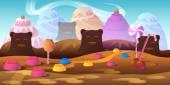 Cartoon fairy tale landscape. Candy land illustration for game design.