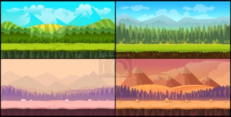 Game backgrounds Vector seamless set, 2d game appl...