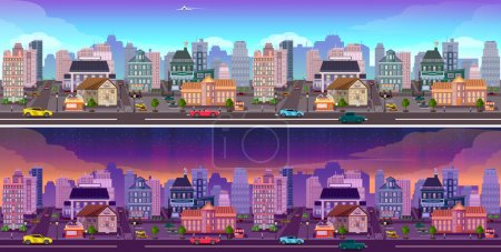 jour et nuit fond de la ville