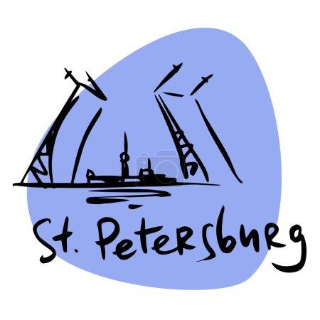 Illustration pour Saint-Pétersbourg Russie pont-levis Neva. Une image stylisée des lieux de voyage touristiques de la ville - image libre de droit