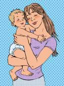 Mom woman with a baby in her arms