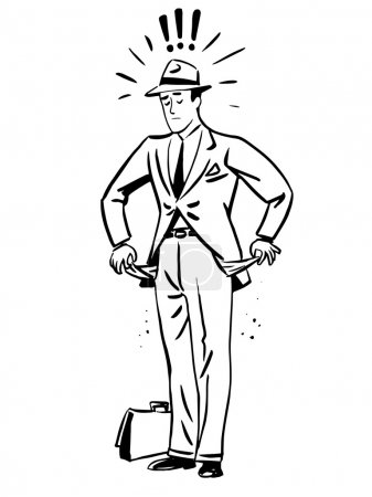 Poverty money businessman with empty pockets line art retro sket