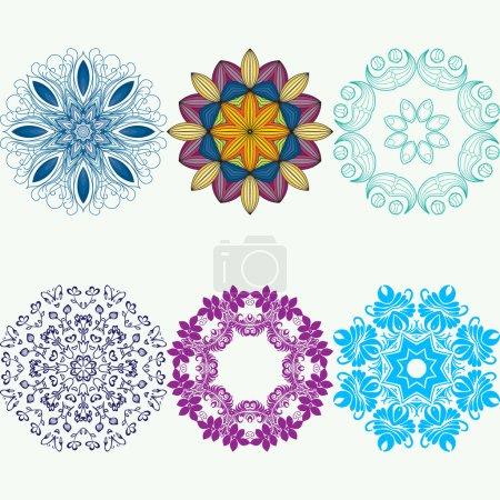 Illustration pour Mandala vectoriel. Bord ornemental floral vectoriel abstrait. Conception de motifs en dentelle. Cadre de bordure ornemental vectoriel. Peut être utilisé pour, cartes, invitations de mariage, etc. - image libre de droit