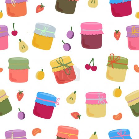 Seamless pattern with home-made jams and fruits.