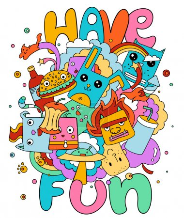 Funny doodle vector illustration, have fun