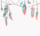 Vintage hand drawn feathers and beads on white background Vector illustration