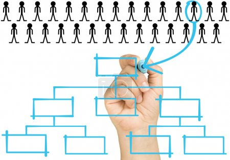 hand selecting the best candidate to place in the highest position of organizational chart on clear glass whiteboard isolated