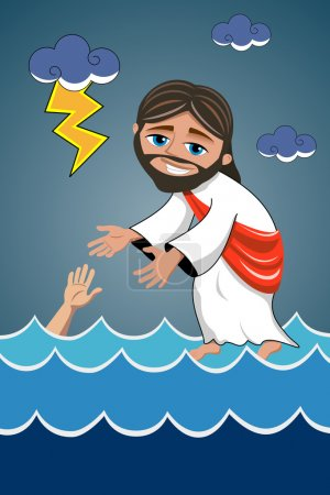 Jesus walking on water sea saving disciple