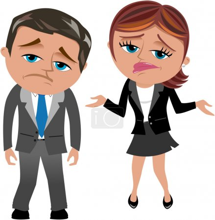 Disappointed Businessman and Businesswoman isolated