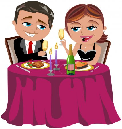 Man and Woman having  a romantic dinner isolated