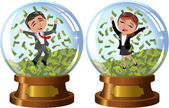 Successful People in Snowglobe under Money Rain isolated