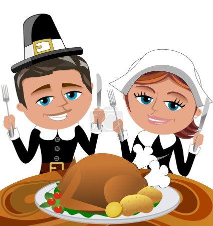 Pilgrims Eating Roast Turkey Isolated