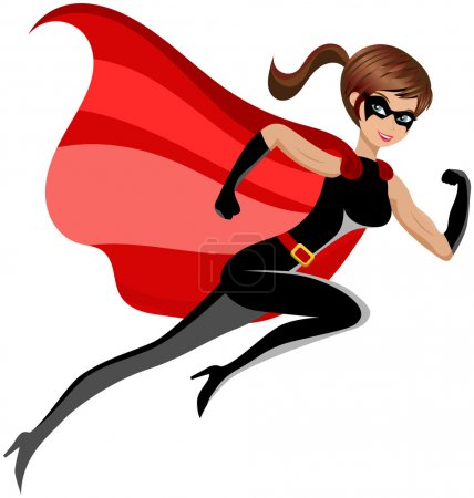 Superhero Woman Running Flying Isolated