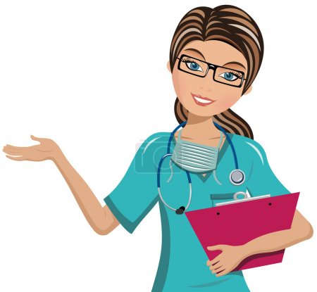 Illustration for Woman Doctor holding clipboard and presenting isolated on white - Royalty Free Image