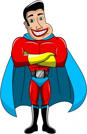 Smiling Superhero standing with crossed arms isolated