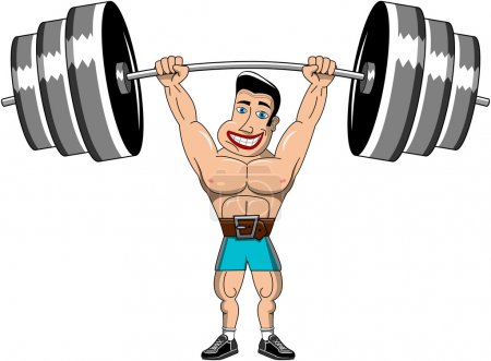 Man Weightlifter lifting heavy weights above head isolated