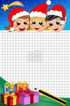 Happy kids with xmas hats at Christmas night looking down at blank sheet of squared paper