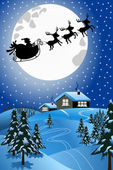 Christmas Night with silhouette of Santa Claus in his sled or sleigh pulled by reindeer flying over winter snowy landscape