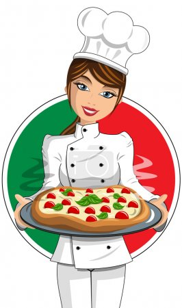 Italian Woman Cook in uniform serving pizza isolated