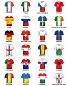 T-shirts with flags of european countries participating to the final tournament of Euro 2016 football championship