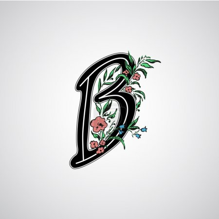 b letter with flowers