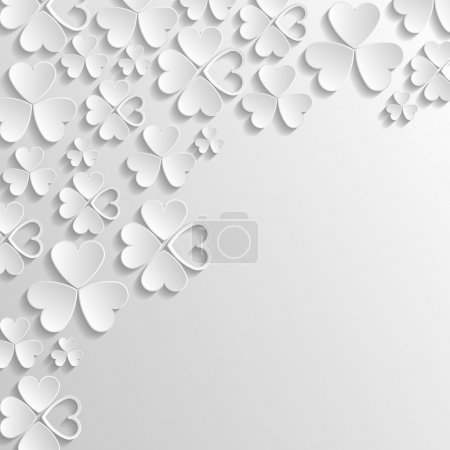 Illustration pour Floral motif 3d avec trèfles. Contexte vectoriel pour la Saint-Patricks Salutations, invitations et affiches - image libre de droit