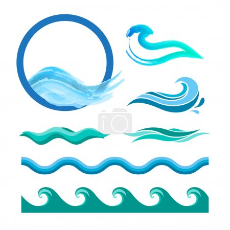 Illustration for Set of blue ocean waves. Vector logo elements. Sea water icons - Royalty Free Image