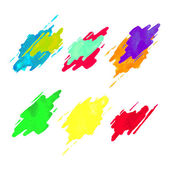 Colorful set of watercolor splashes icons Vector labels Texture background elements