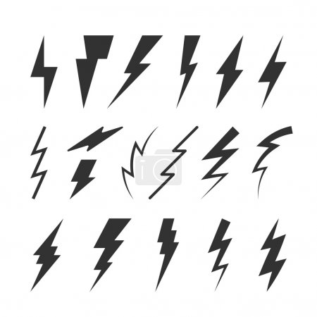 Illustration for Set of Thunderbolts Silhouettes. Vector Isolated Symbols. Flat Thunderstorm Illustrations for Logos, Badges, Icons and Signs - Royalty Free Image