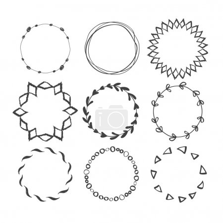 Illustration for Set of Round Hand Drawn Ink Frames. Vector Decorative Borders Design. Ethnic Circle Patterns - Royalty Free Image