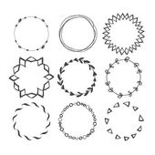 Set of Round Hand Drawn Ink Frames Vector Decorative Borders Design Ethnic Circle Patterns