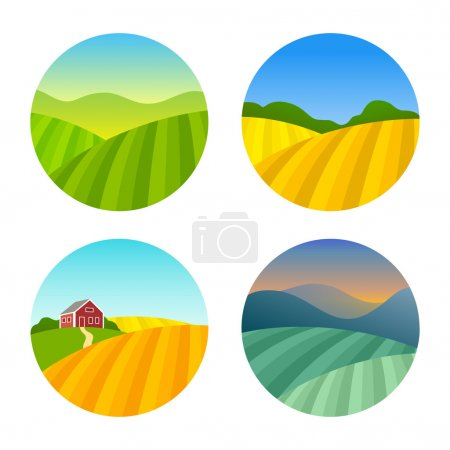 Illustration for Set of Farm Fields Landscapes. Rural Farmhouse on Grasses Fields with Mountains. Agriculture in Village Illustrations - Royalty Free Image