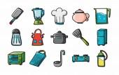 Kuchyně a kuchyňské sady ikon, eps10
