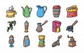 Káva a čaj ikony set, eps10