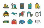 Letiště znamení ikony set, eps10