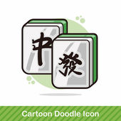 Chinese mahjong doodle vector illustration