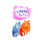 Watercolor  singing cats