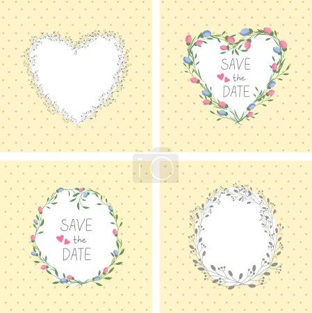 Flowers frame. Heart. Set. Vector retro  backgroun...