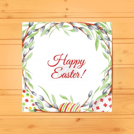 Illustration for Watercolor Easter Card with eggs and willow branches on wood texture. Vector background. Happy Easter. Holiday. Watercolor - Royalty Free Image