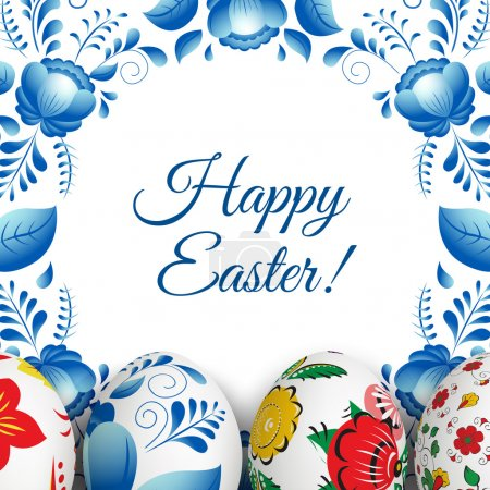 Illustration for Easter Card. Folk paints. Happy Easter. Vector objects. 3D. Realistic Easter eggs. Vector background. Folk floral painting. - Royalty Free Image