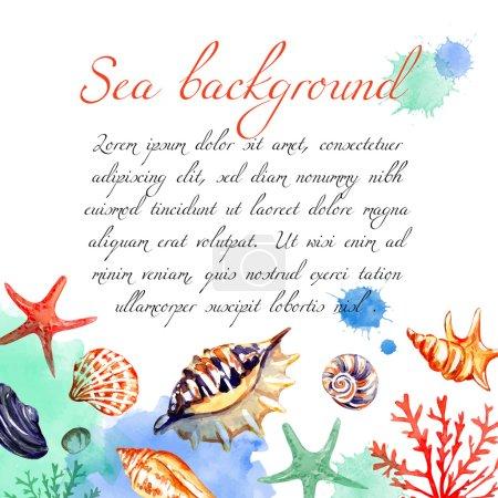 Watercolor sea frame