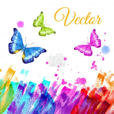 colorful background with butterflies