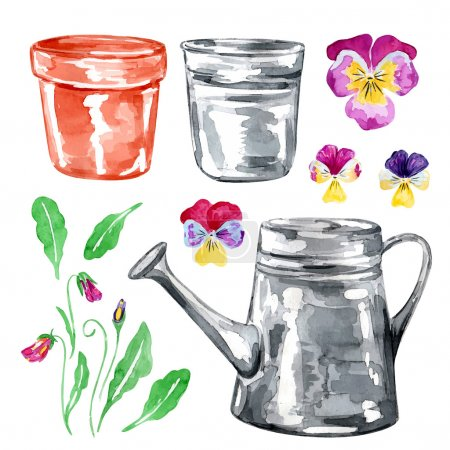 Set of flowers viola and watering can
